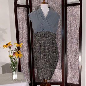 Suzi Chin Blue silk and tweed sleeveless dress.